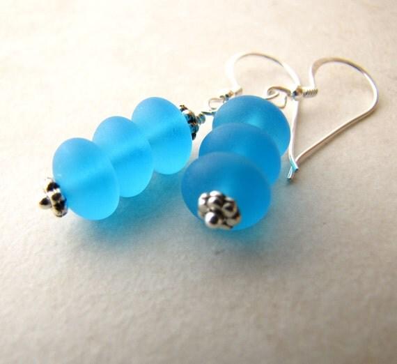 Sea Glass Earrings, Seaglass Earrings, Beach Jewelry, Aqua Seaglass, Seaglass Jewelry, Ocean Earrings, Beach Earrings