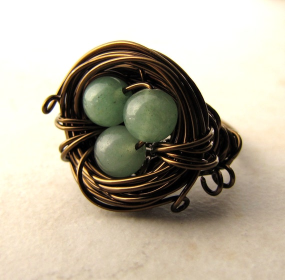 Birds Nest Ring Green Eggs Jade Bronze Wire Wrapped Size 6.5 BellinaCreations Bellina Creations