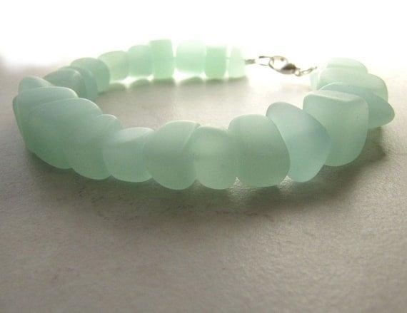Seaglass Sea Glass Bracelet Sea Foam Aqua Size 8 BellinaCreations Bellina Creation