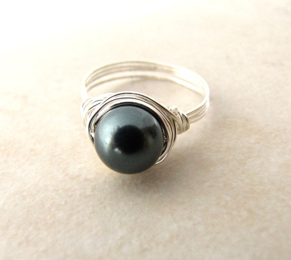 Black Pearl Ring Tahitian Silver Wire Wrapped Size 7 1/4 BellinaCreations Bellina Creation