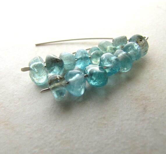 Apatite Earrings Sterling Silver Hammered Gemstone Earrings Aqua Blue Teal Turquiose Nugget BellinaCreations Bellina Creation