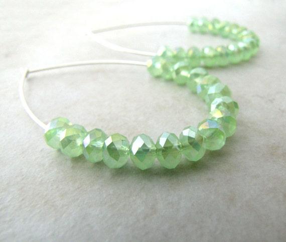 Mint Green Earrings Crystal Peridot Sterling Tear Drop Hoop Earrings BellinaCreations Bellina Creation