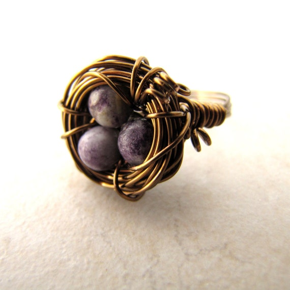 Birds Nest Ring Sugilite Purple Eggs Bronze Wire Wrapped Size 7.5