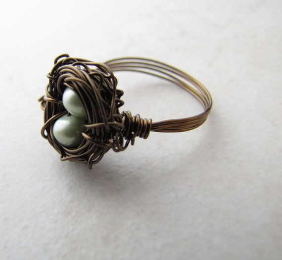 Birds Nest Ring Mint Green Pearl Eggs Hummingbird Nest Bronze Wire BellinaCreations Bellina Creations Wrapped Size 6.5