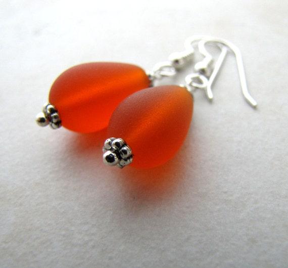 Sea Glass Earrings, Seaglass Earrings, Beach Jewelry, Beach Wedding, Seaglass Jewelry, Ocean Earrings, Beach Earrings, Orange Seaglass