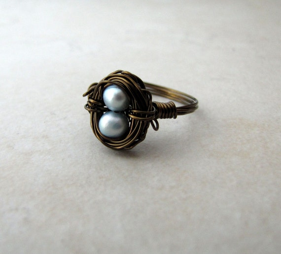 Birds Nest Ring Hummngbird Nest Blue Pearl Eggs Bronze Wire Wrapped Size 7 BellinaCreations