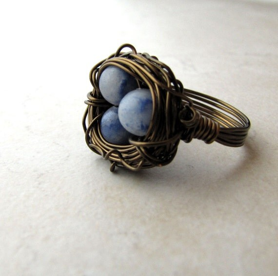 Birds Nest Ring Blue Eggs Lapis Lazuli Bronze Wire Wrapped Size 6 BellinaCreations Bellina Creations