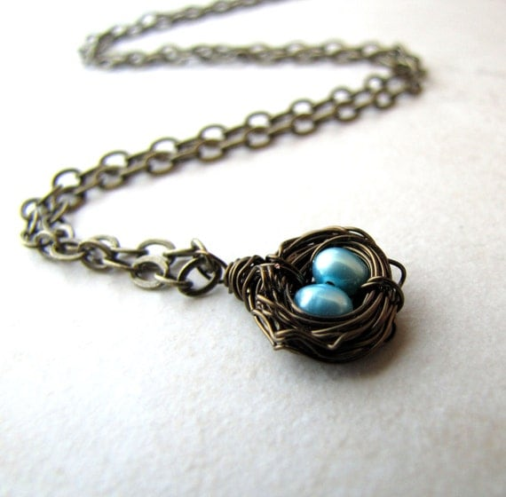 Hummingbird Nest Necklace Aqua Pearl Eggs Bronze Wire Wrapped BellinaCreations Bellina Creations