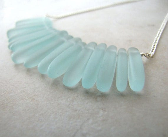 Aqua Seaglass Sea Glass Necklace Wire Wrapped Tusk Necklace BellinaCreations Bellina Creation
