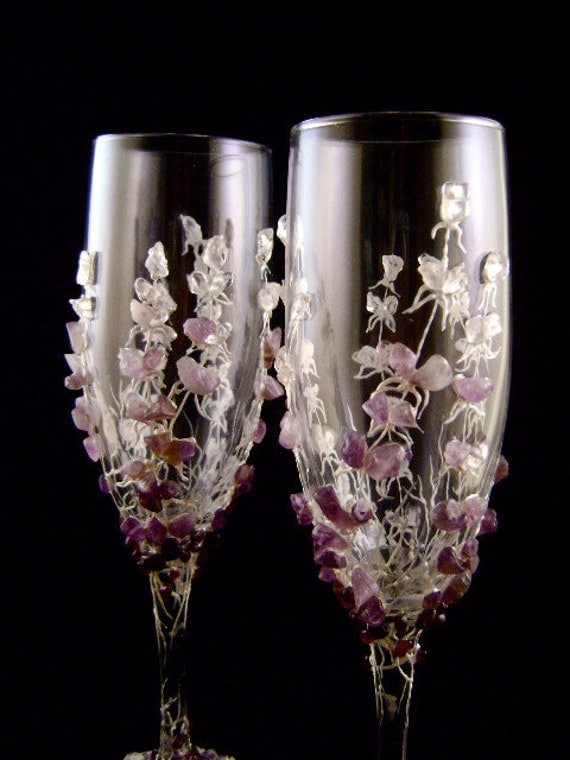 items similar to lavender champagne flutes wedding glasses decorated with natural semi. Black Bedroom Furniture Sets. Home Design Ideas