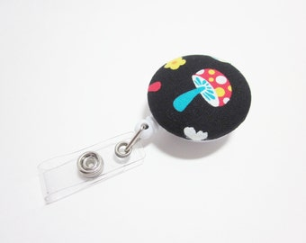 Badge Reel Covered Button in Mushrooms