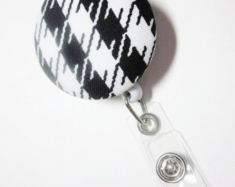 Houndstooth ID Holder Badge Reel Covered Button