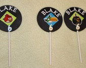 12 Personalized  Angry Birds Cupcake toppers Birthday party decorations