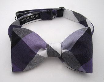 Bow - Men's Bow Tie - Purple & Black Check Bowtie