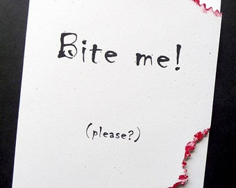 Bite me please Zombie Greeting Card