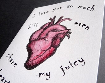 My Juicy Heart   ZOMBIE Greeting Card