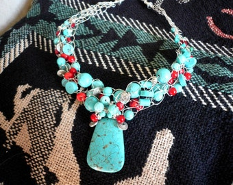 Made to Order Focal Bead Wire Crochet Necklace