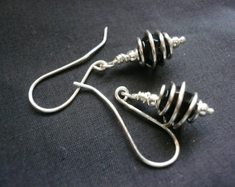 Black and silver wire earrings