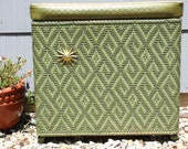 Mid century Green and Gold Woven Hamper