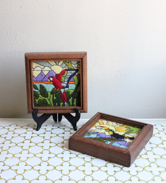 RESERVED Vintage Sunset Designs Framed Needlepoint Parrot and Toucan from 1981