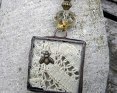 Necklace  - -- Lace Under Glass Necklace  -- Bees and Old Lace