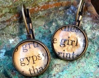 Word Earrings, Gypsy Girl, Bibliophile, Gypsy Soul, Book Lover, Librarian, Book Jewelry