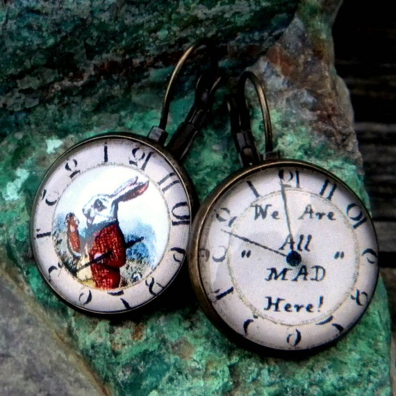 Alice In Wonderland Earrings, We Are All Mad Here, White Rabbit Earrings, Mad Tea Party ,Cheshire Cat