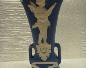 Schafer and Vater Jasperware Vase. Winged Cherub Playing Lute