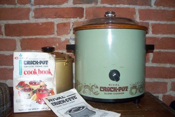 Vintage Rival Avocado Green Crock Pot Slow Cooker 1970's crock-ette