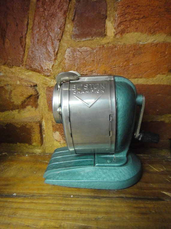 Vintage Boston Champion Pencil Sharpener Beautiful Teal Color