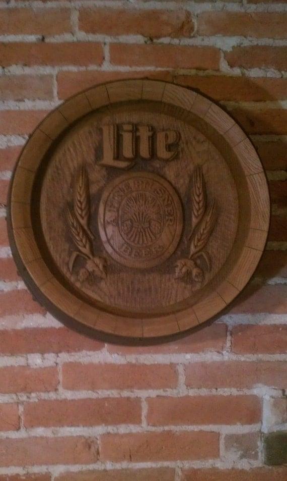 Vintage Miller Lite 3D Barrel Bar Sign