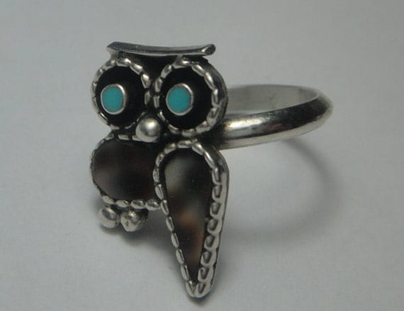 Vintage Native American Inlaid Owl Silver Ring, Paul Lucario Jr size 6.5