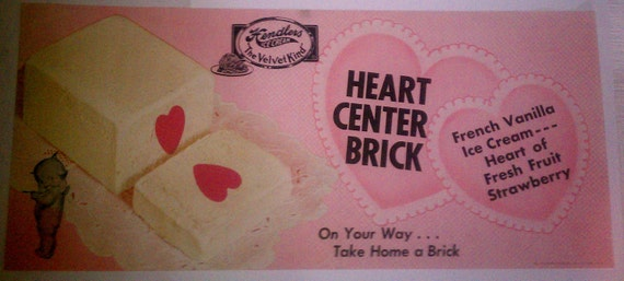 Vintage Hendler's Ice Cream Heart Center Brick Advertising with Adorable Kewpie