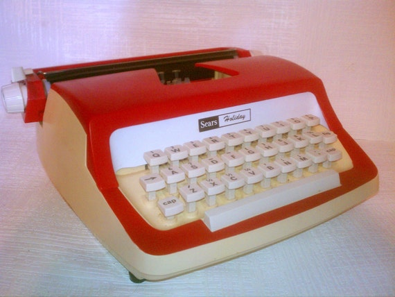 Red and White Vintage Sears Holiday Typewriter with Original Box