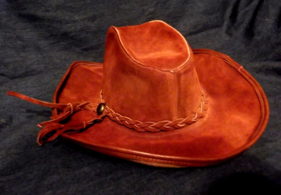 Men's Leather Suede Leather Brown Cowboy/Outback Hat size 7