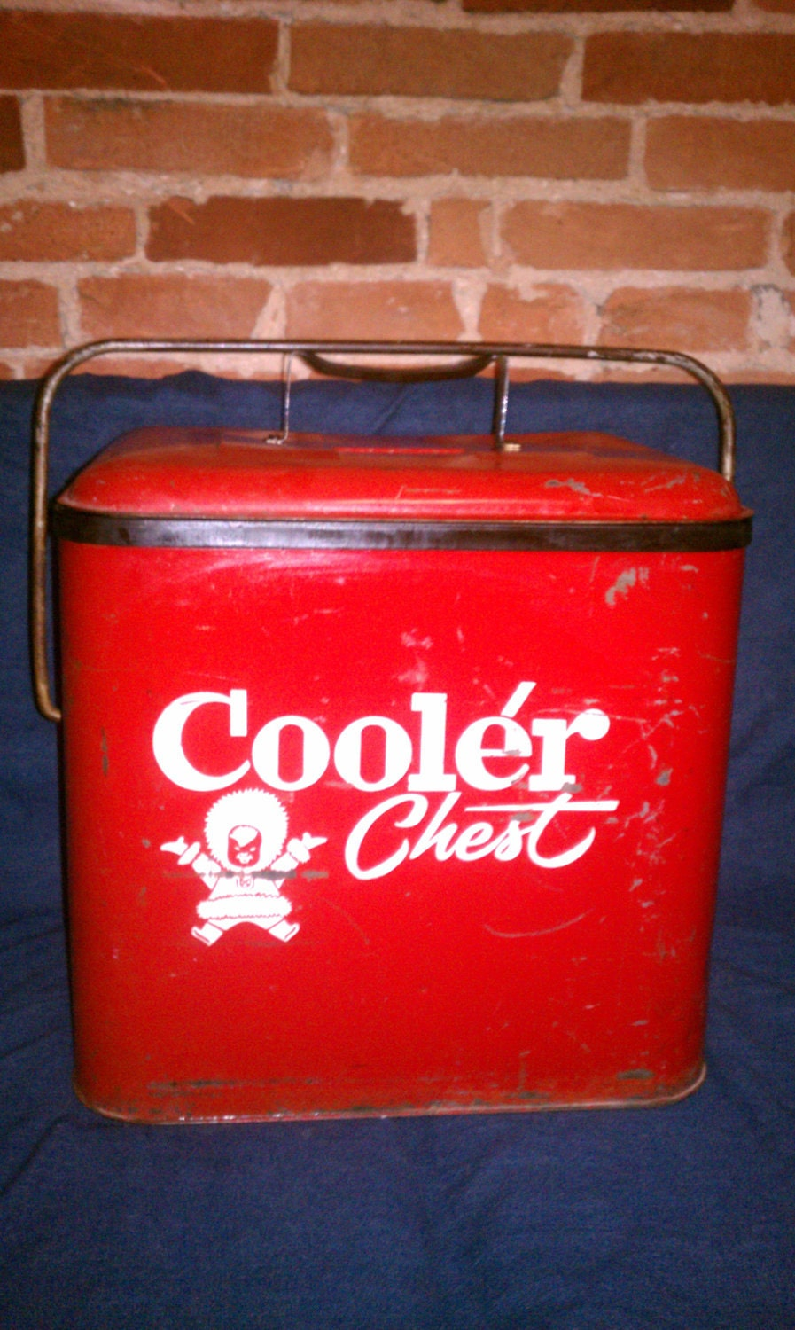 vintage red metal cooler chest with bottle opener by swagjuice. Black Bedroom Furniture Sets. Home Design Ideas