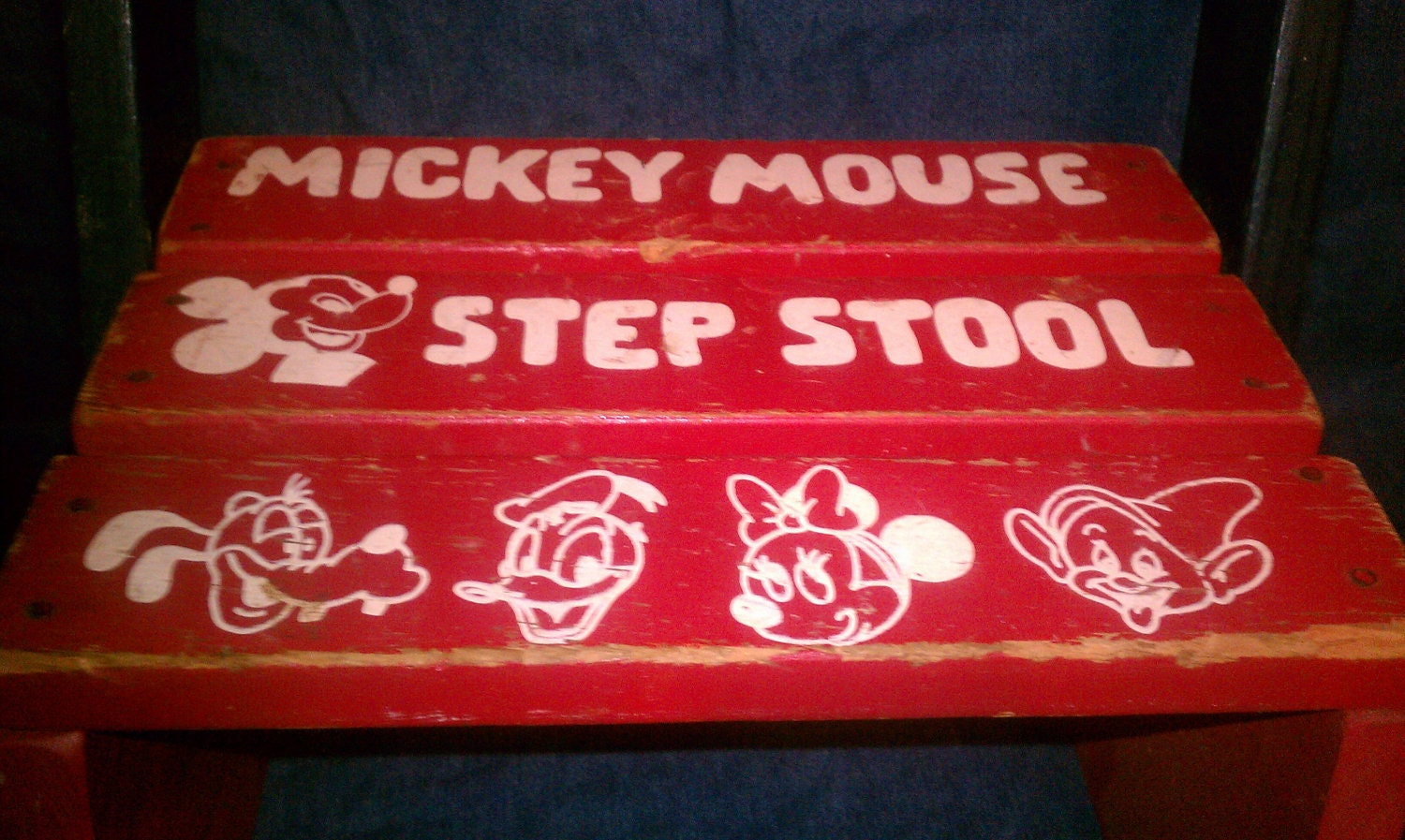 1950s wooden red white and blue mickey mouse step stool chair - Mickey mouse stool ...