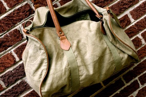 Army Green Britannia Canvas Luggage / Bag