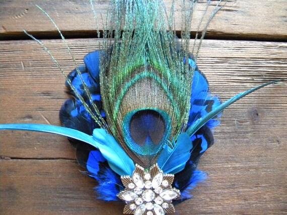 Pretty, Pretty Peacock Feather Hair Fascinator Comb or Headband