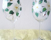 handpainted magnolia wineglasses. Set of two.