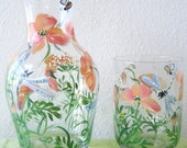 bedside carafe with poppy and daisy design