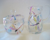 Handpainted sugar creamer set with dragonflies