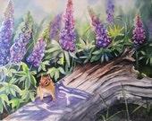 chipmunk and lupine original watercolor