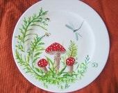 Woodland toadstool painted plate