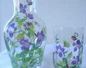 Hand painted bedside carafe with violets,gift for mom,purple flower,wedding favor, style of carafe different from picture.