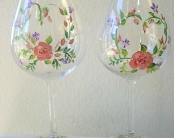 handpainted glassware, set of 2