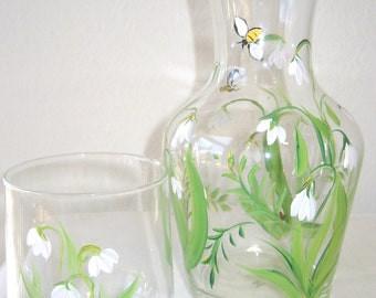carafe, bed side carafe, Christmas in July sale , lily of the valley,gift for mom,gift for her