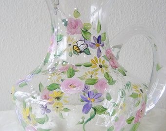 painted glass pitcher with roses and flowers