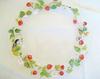 handpainted plate with strawberries