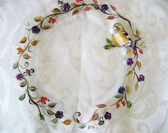 Hand painted glass plate with fall pattern